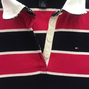 Tommy Hilfiger Striped Collared Long Sleeve Top